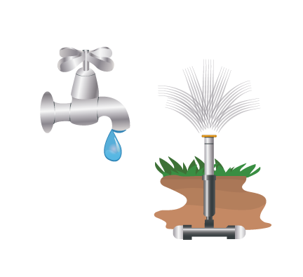 Faucet leak and sprinkler graphic