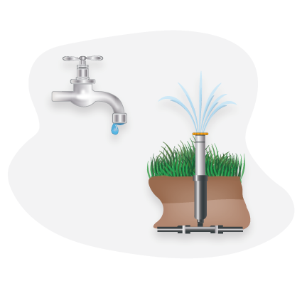Leaky faucet and Irrigation sprinkler graphic